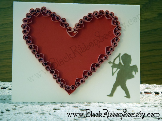 BRS White Cardstock wth Red & Pink Hearts and Gold Cupid